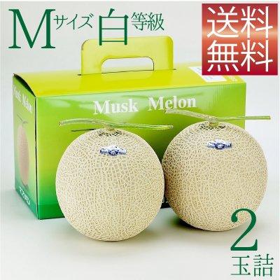 画像1: クラウンメロン Mサイズ白等級 2玉詰 【ネット注文限定・送料無料】